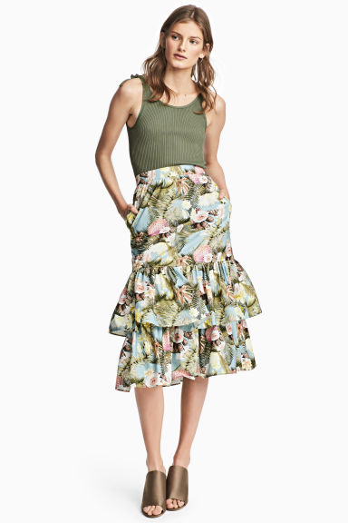 Tiered cotton skirt - Light blue/Floral - Ladies | H&M