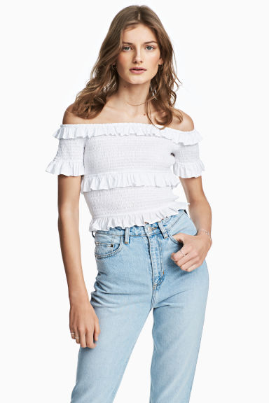 Off-the-shoulder blouse - White -  | H&M GB