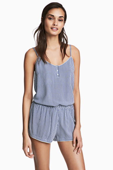 Pyjamas with cami and shorts - Blue/White/Striped - Ladies | H&M GB