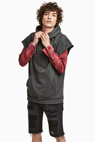 Sleeveless hooded top - Dark grey -  | H&M