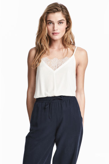 Ribbed strappy top - White - Ladies | H&M CN