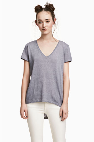 V-neck jersey top - Blue-grey - Ladies | H&M