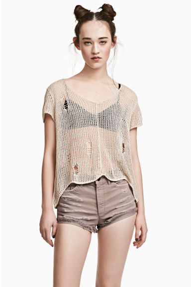 Loose-knit top - Light beige -  | H&M