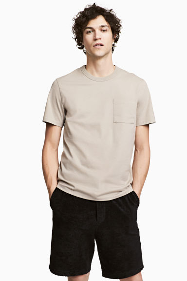 T-shirt with a chest pocket - Beige -  | H&M