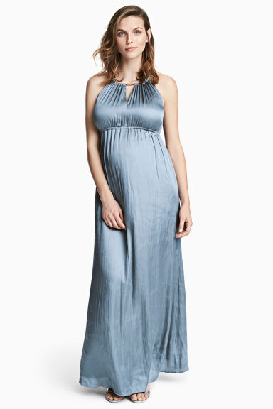 MAMA Satin dress - Blue-grey - Ladies | H&M CN
