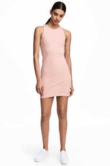 Sleeveless jersey dress - Powder pink - Ladies | H&M CN