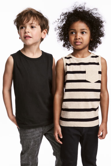 2-pack tops - Light beige/Striped - Kids | H&M GB