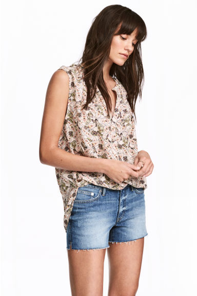 Sleeveless blouse - Powder/Patterned - Ladies | H&M CN