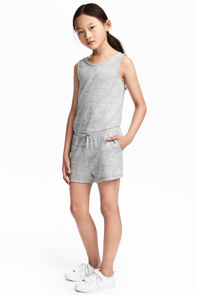 Glittery playsuit - Light grey marl - Kids | H&M CN