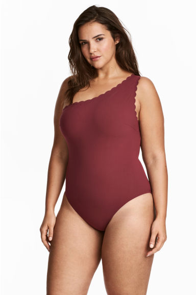 H&M+ One-shoulder swimsuit - Burgundy -  | H&M GB