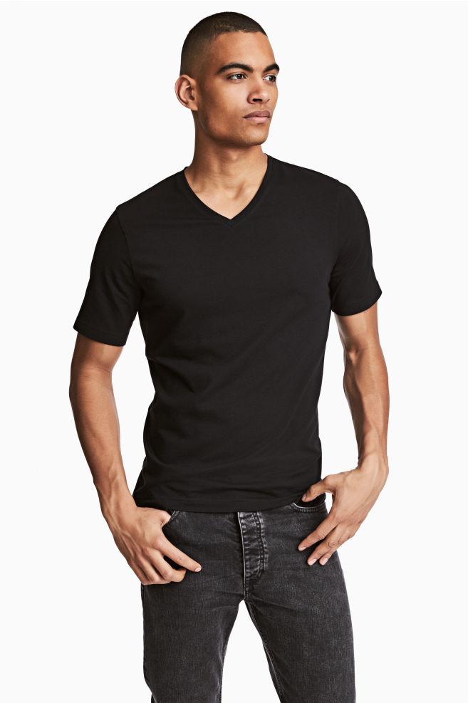 df174aeca V-neck T-shirt Slim fit - Black - Men   H&M ...