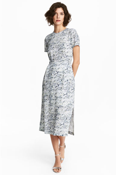 Patterned silk dress - White/Patterned - Ladies | H&M