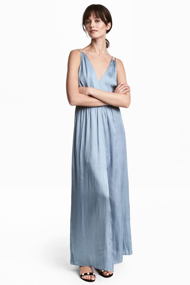 12c7fddce88e Dlhé saténové šaty - modrosivá - ŽENY
