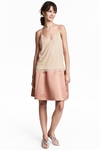 Flared satin skirt - Powder pink - Ladies | H&M CN