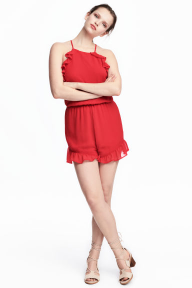 Frilled crêpe playsuit - Red - Ladies | H&M CN