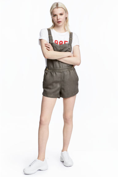 Dungaree shorts - Khaki green -  | H&M