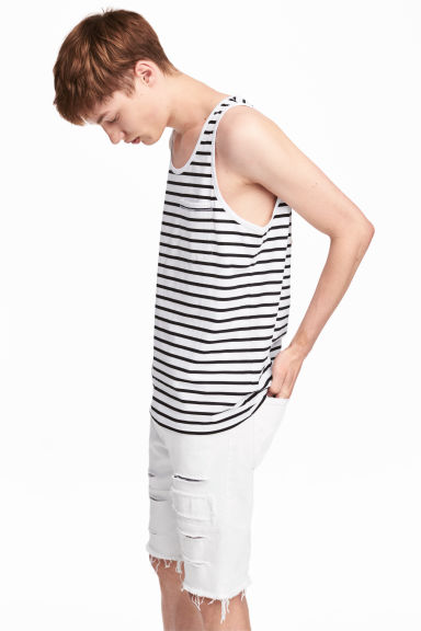Vest top with a chest pocket - White/Striped - Men | H&M IE