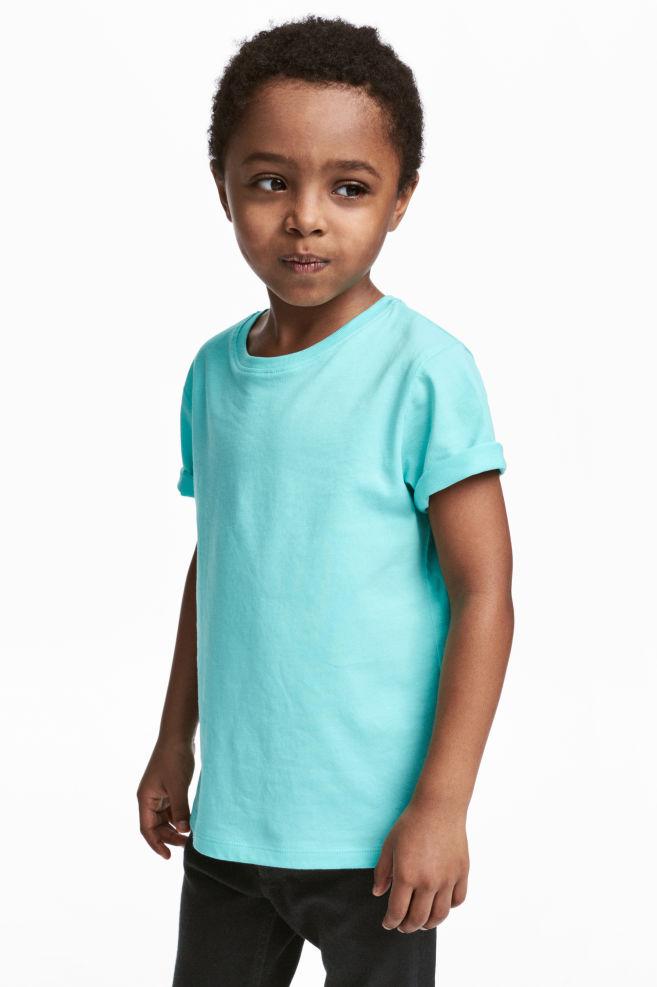 a05f17a9 T-shirt i bomuld - Turkis - BØRN   H&M ...