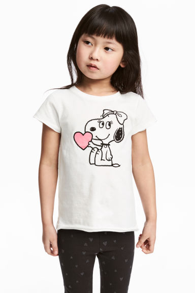 Printed jersey top - White/Snoopy -  | H&M GB