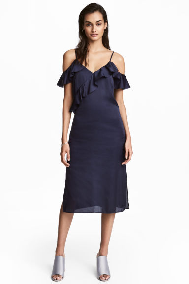 Satin dress - Dark blue -  | H&M