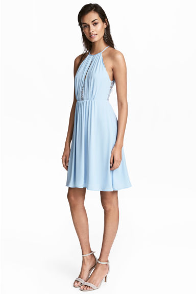 Dress with lace details - Light blue - Ladies | H&M CN