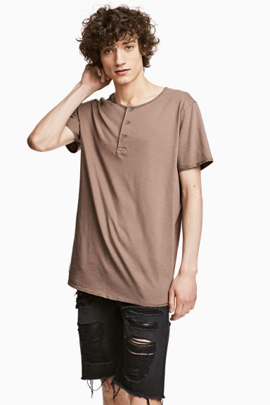 T-shirt with buttons - Light brown - Men | H&M CN