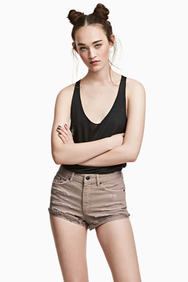 Denim shorts Skinny Regular - Beige - Ladies | H&M