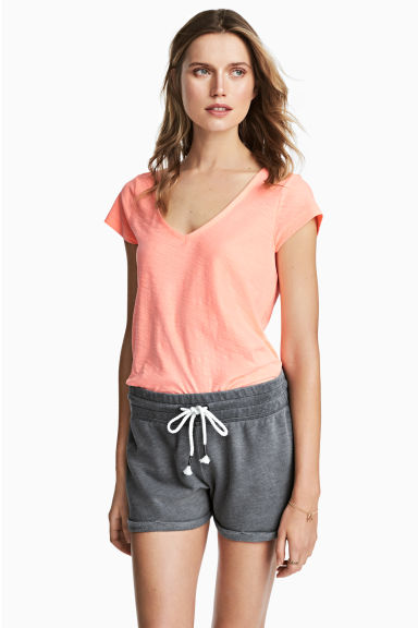 V-neck top - Neon orange - Ladies | H&M CN