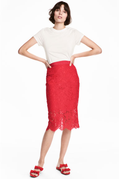 Lace pencil skirt - Red -  | H&M