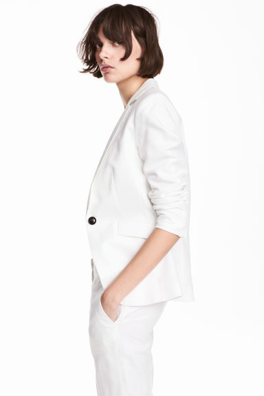 Tailored linen-blend jacket - White - Ladies | H&M CN
