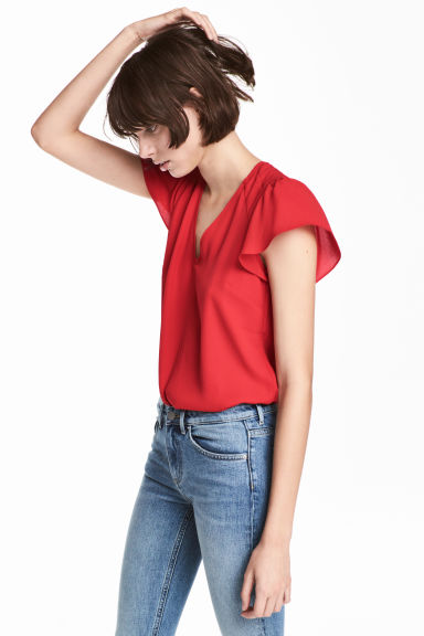 V-neck blouse - Red -  | H&M GB