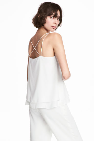 Double-layer strappy top - White -  | H&M GB