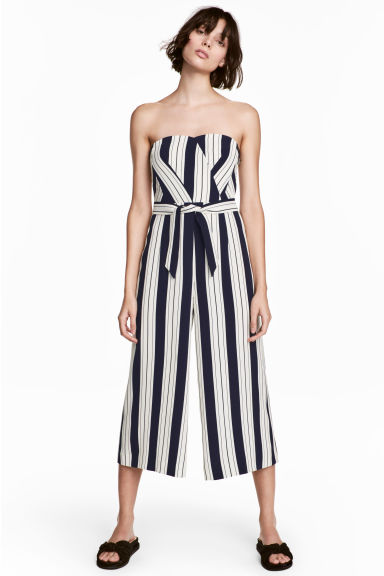 平口連身褲裝 - White/Striped - Ladies | H&M