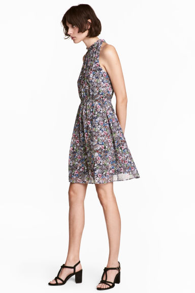 Chiffon dress - Dark blue/Floral -  | H&M CN