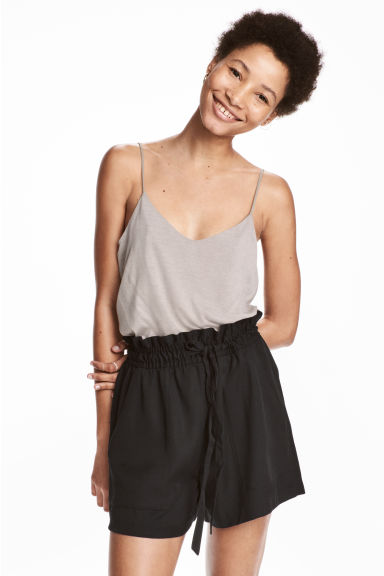 Jersey strappy top - Light grey - Ladies | H&M CN