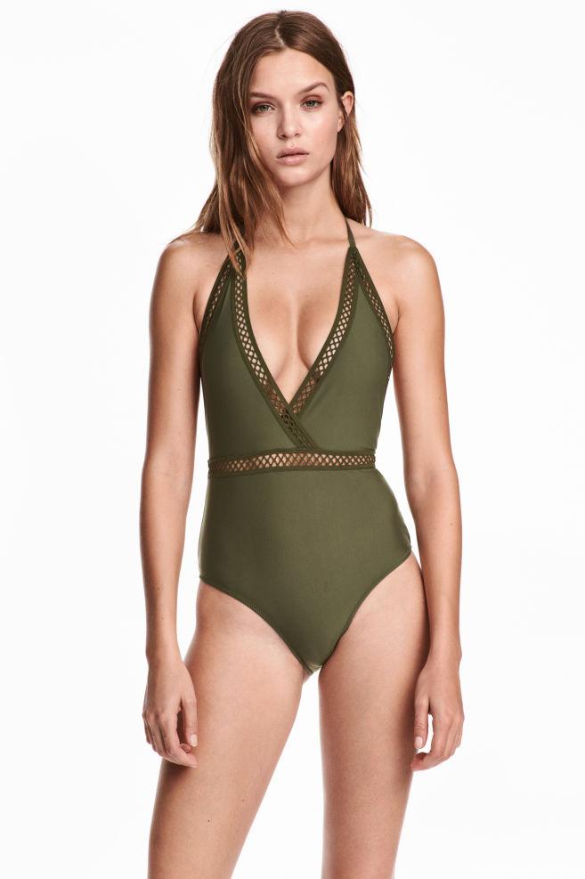 4537778fb71 Halterneck swimsuit - Khaki green - Ladies   H&M ...