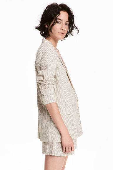 Pinstriped jacket - Natural white/Striped -  | H&M