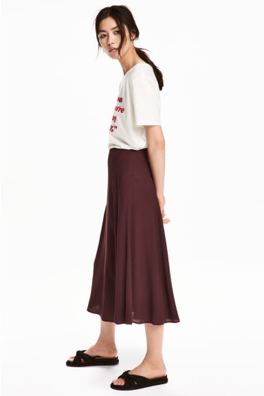 傘狀中長裙 - Burgundy - Ladies | H&M