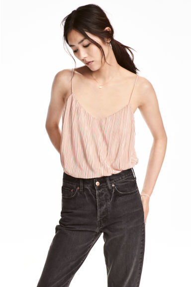 Pleated strappy top - Powder pink -  | H&M CN
