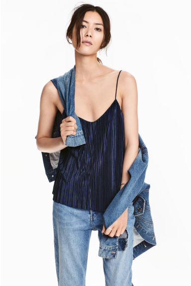 Pleated strappy top - Dark blue - Ladies | H&M