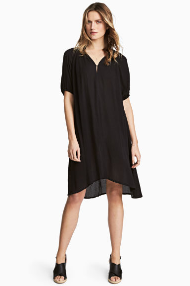 Crinkled dress - Black -  | H&M