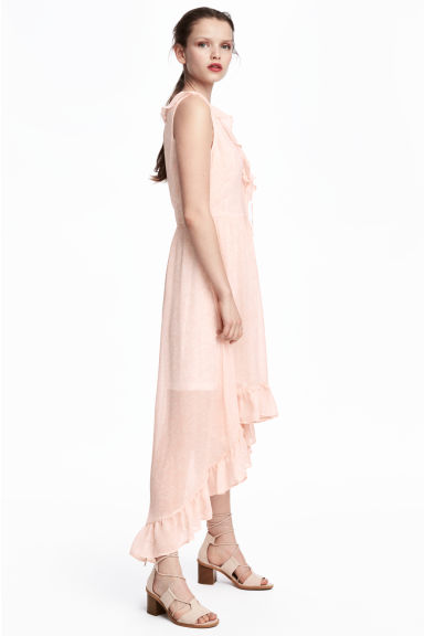 Frilled crêpe dress - Powder pink/Pattern - Ladies | H&M