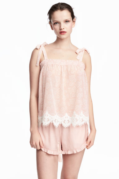 Top with smocking - Powder pink/Pattern -  | H&M