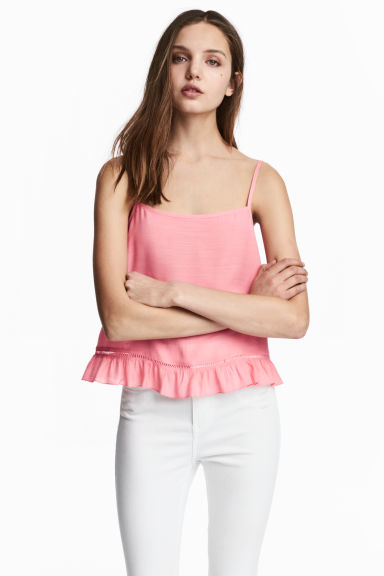 Wide strappy top - Coral pink -  | H&M