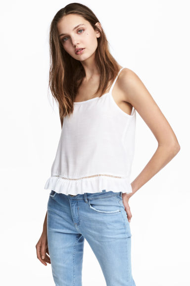 Wide strappy top - White - Ladies | H&M IE