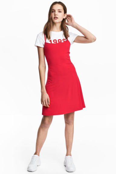 Short jersey dress - Red - Ladies | H&M CN