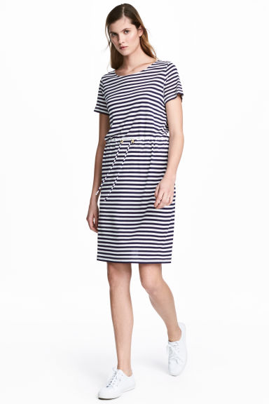 Jersey dress with a drawstring - Dark blue/Striped - Ladies | H&M CN