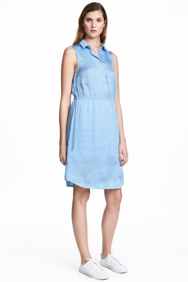 Satin dress - Light blue - Ladies | H&M CN