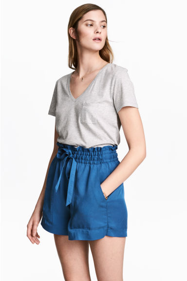 Lyocell shorts - Dark blue -  | H&M