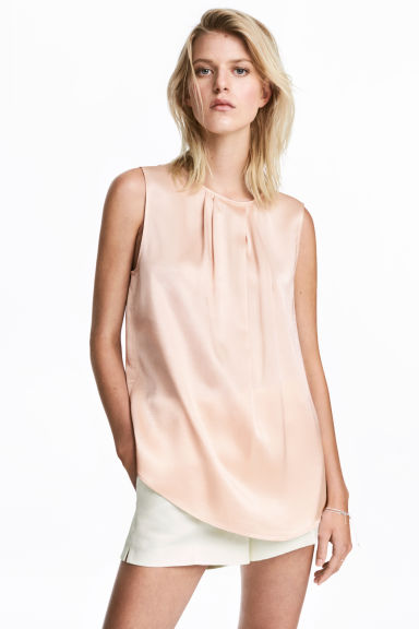 Sleeveless blouse - Powder pink -  | H&M IE